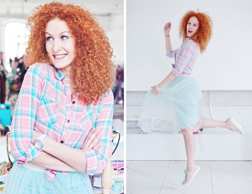 Голубая юбка-пачка и рубашка