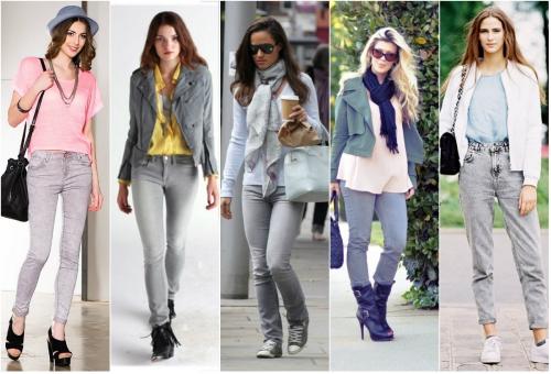 Различные комплекты с серыми джинсами