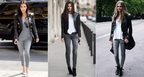 Серые джинсы с черной курткой