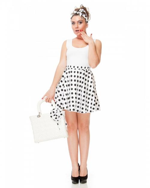 Черная юбка в белый горох