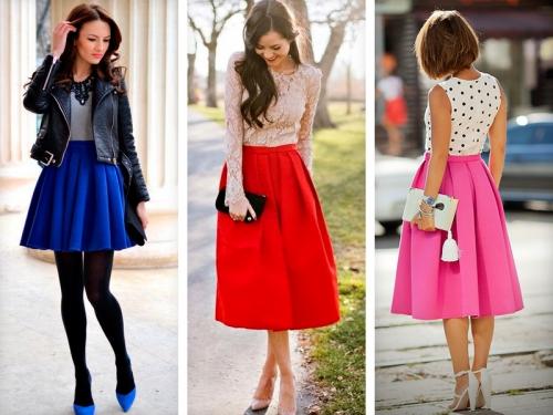 Яркие юбки пышного кроя: колокол